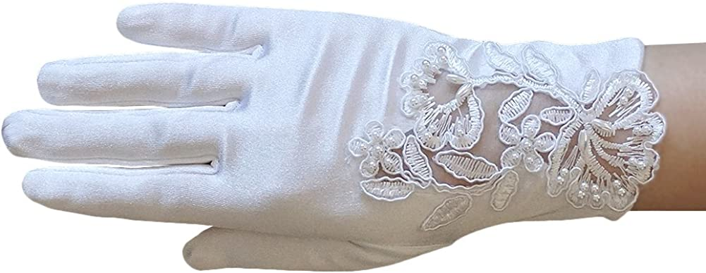 ZAZA BRIDAL Girl's Satin Gloves with Floral Embroidery Lace & Pearls