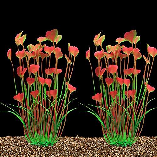 YUANMAO 2 plantas de acuario, plantas artificiales de plástico para decoración de pecera, seguro para todo tipo de pecera, forma de corazón, hojas grandes, adorno de algas marinas, color rosa