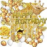 Daypicker Oro Decorazioni per Feste di Compleanno, Palloncini Buon Compleanno, Palloncini Coriandoli, Palloncini Oro Tenda Petalo d'oro per Ragazza Ragazzo Bambini Uomini Donne Adulti