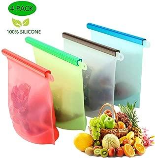 KESOVI Bolsas de Silicona Reutilizables,4 Piezas Bolsas de conservación,Bolsas de Comida, Bolsas de Silicona Preservación de Alimento Hermética para Fruta Sopa de Verduras Leche Carne