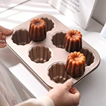 Cannele Mold Cake Pan - 6 Cavity Non-Stick Baking Carbon Steel Caneles Moulds,Muffin Bakeware,French Custard Coffee Cake T...