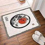 Tinta y pintura de color de sol rojo bajo hojas de bambú Felpudo antideslizante interior, alfombra de baño, lavable 45x75cm, decoración del hogar