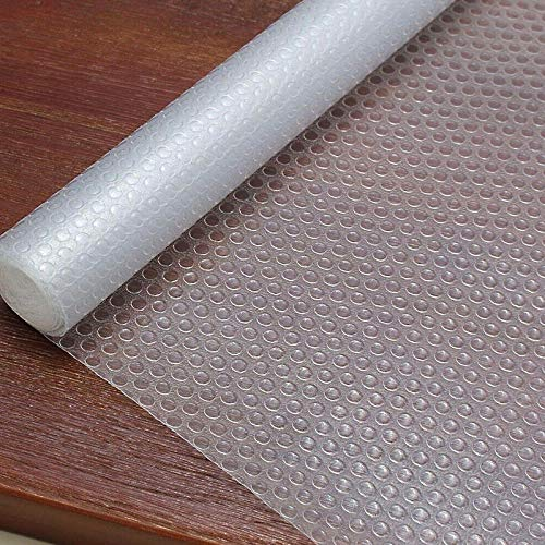 Shelf Liner Plastic Shelf Drawer Liner Non-Adhesive Cupboard Pad Washable Refrigerator Mats for Pantry Cabinet, Kitchen Drawer, Bathroom Shelves, Shoe Rack - Transparent, 17.5 x 59 inches