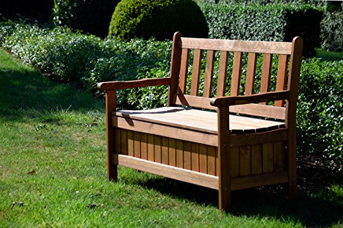 dobar Gartenbank Massive mit Lehne 2-Sitzer aus FSC Holz, 115x58x89cm, braun - 5