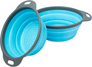"Colander Set - 2 Collapsible Colanders (Strainers) Set By Comfify - Includes 2 Folding Strainers Sizes 8"" - 2 Quart and 9...."