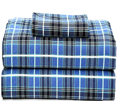 Ruvanti 100% Cotton Flannel Twin Sheets, 3 Pcs Twin XL Sheets Set Deep Pocket-Warm-Super Soft-Breathable & Moisture Wicking Flannel Twin Kids Bedding Set Include Flat Sheet,Fitted Sheet & 1 Pillowcase