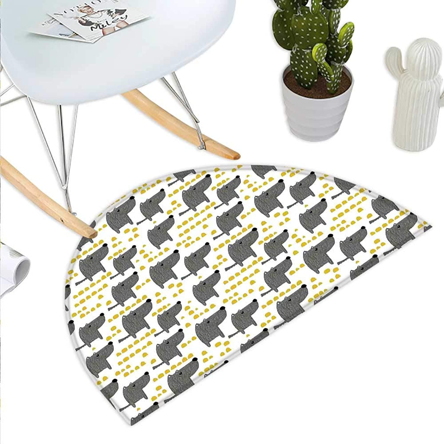 Dog Semicircle Doormat Sketch Style Canine with Abstract Yellow Toned Dots Greyscale Cartoon Pets Halfmoon doormats H 35.4  xD 53.1  Grey Marigold White