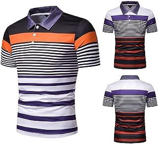 Men's T-Shirts Top Men's Slim Printed Casual Polo Shirt (Color : Orange, Size : L)