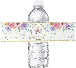 Unicorn Bottle Wraps-Happy Birthday Water Bottle Label Rainbow Unicorn Themed Party Favors, Set of 24 Waterproof Stickers