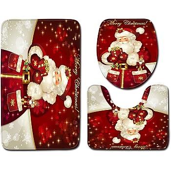 Baño de Navidad Conjuntos de Navidad de Santa Alfombra de baño no del resbalón Baño Alfombras de Contorno Mats WC Tapa Decoración