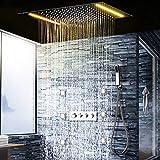 HNBMC - Set de Ducha de Lluvia LED 6 boquillas SPA cuadradas, 2 Luces, Ducha de Mano, Masaje Jet, Ducha de Pared con termostato de baño de Acero Inoxidable