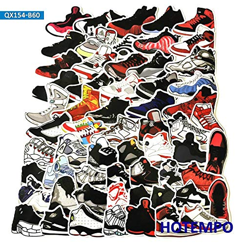 AXHZL Retro Basketball Sneaker Vintage Tide Shoe Stickers for Mobile Phone Laptop Luggage Pad Case Skateboard Bike Style Sticker 60Pcs