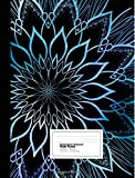 Composition Notebook: Icy Blue Mandala on Black Wide Ruled Composition Style Notebook  7.44 x 9.59 Inches 100 sheets / 200 pages soft cover, glossy finish