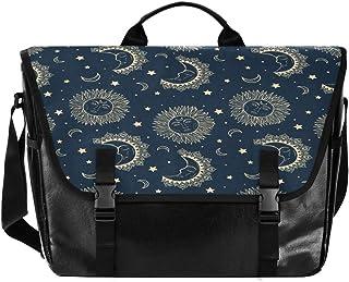 Golden Moon Sun Stars Hombres y Mujeres Lona Satchel, Mujer Retro Single Shoulder Bag School Satchel, Bolsa de hombro Esco...