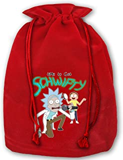 Morty Its Time to Get Schwifty Rick Christmas Drawstring Bag Gift Bags Santa Sack for Christmas Party Decoration