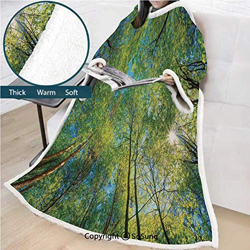 Forest Home Decor Premium Sherpa Deluxe Fleece Blanket with Sleeves,Evergreen Back Nature Area Mother Earth Lime Trunk Mangrove Flora Willow Decor Throws Wrap Robe Blanket for Adult Women,Men,Green