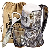 Viking Culture Ox Horn Mug, Shot Glass, and Bottle Opener (3 Pc. Set) Authentic 16-oz. Ale, Mead, and Beer Tankard | Vintage Stein with Handle | Custom Intricate Design - Polished Finish | The Ring
