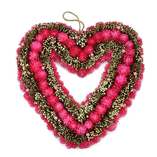 Pink Flowers Heart Shaped Valentine Days Wreath 13 Inches