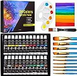 Set de 24 Tubos de Pinturas Acrilicas, Buluri 24 Colores x 12ml Pintura Acrílica con 10 Pinceles 1...