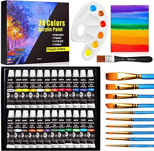Buluri Colori Acrilici per Dipingere, Kit di 24 Colori Acrilici Bambini per Dipingere Set Pittura Principianti e PRO.12 ml con 10pz Pennelli Pittura 1 Tavolozza 1 Canvas, per Tela/Legno/Muro