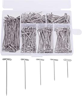 CCINEE 450pc 1 Inch-2 Inch Wig T-pins Nickel Plated Stainless Steel T Pins with Plastic Transparent Package Box
