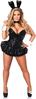 Top Drawer Premium Sequin Tuxedo Bunny Corset Dress Costume