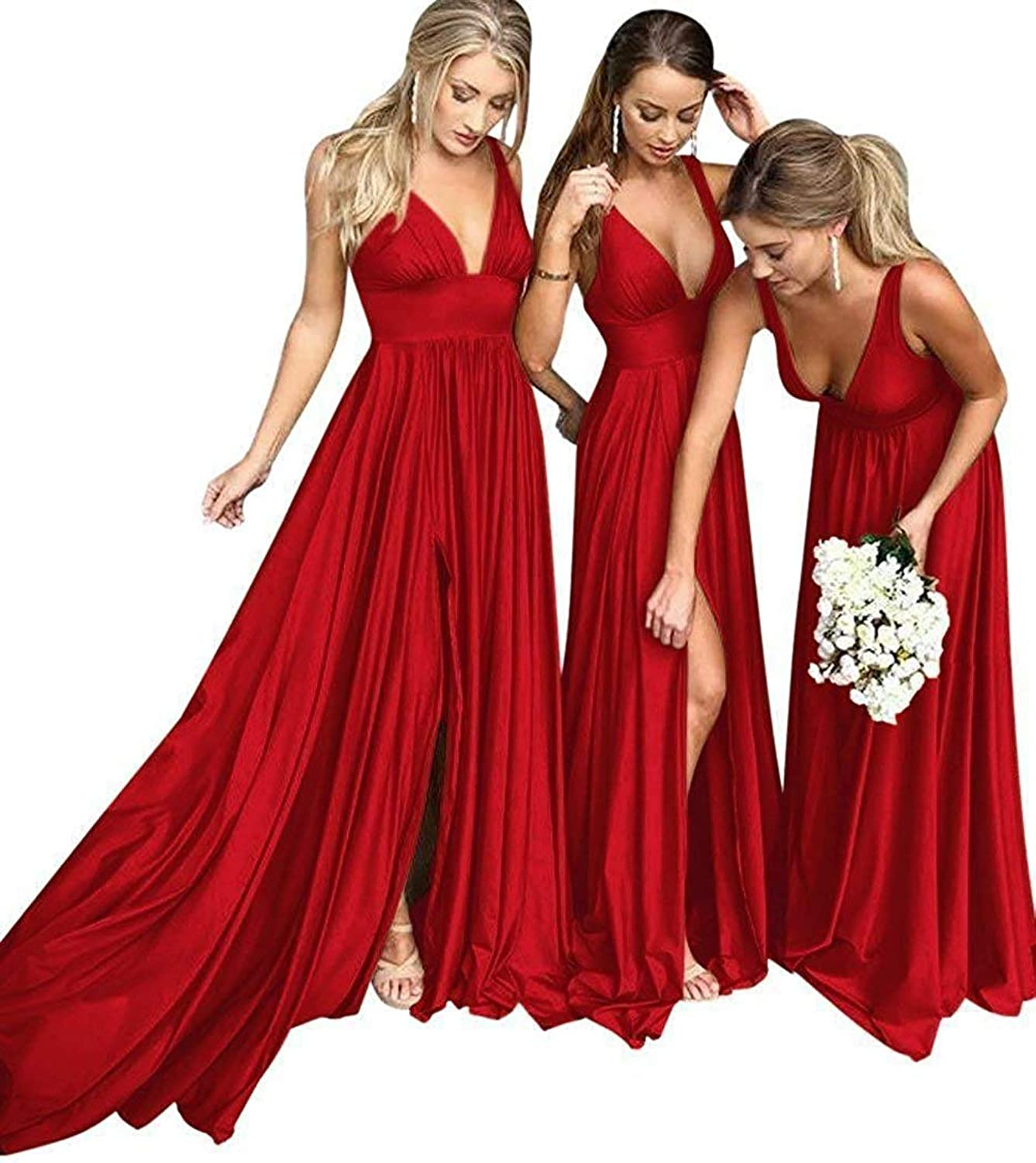 FTBY Long VNeck Bridesmaid Dresses Women Silt Evening Dresses Strap Sleeveless Formal Party Gowns Backless