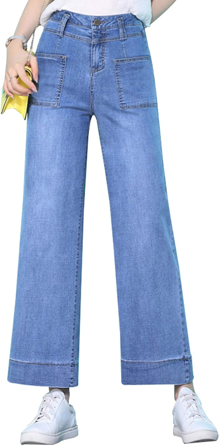 Yimoon Free Shipping New Women's High Waisted Blue Pants Leg Wide Jeans Denim Cheap mail order specialty store