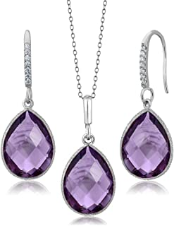 925 Silver Amethyst Pear Shape Pendant and Earrings Set (19.50 cttw Birthstone with 18 Inch Silver Chain)