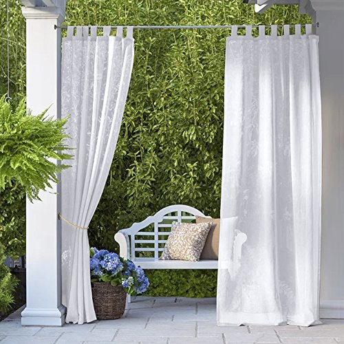 RYB HOME Outdoor Sheer Curtains - Outdoor Deck Linen Look Semitransparent White Sheers, Quick Dry Indoor Outdoor Drapes for Gazebo Patio Balcony, 2 Ropes Included, Wide 54 by Long 84, 2 Panels