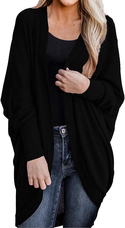 Womens Boho Kimono Cardigans Open Front Long Sleeve Solid Oversized Sweaters Outwear