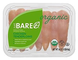 Just BARE Organic Fresh Chicken, Hand-Trimmed, Boneless, Skinless Tenderloins, 1.0 lb