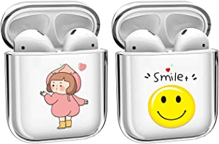 [2 Pack] Cute Crystal Clear Transparent Cover Case Compatible with Apple Airpods 2 &1, Smooth TPU [No Dust] [Front LED Vis...