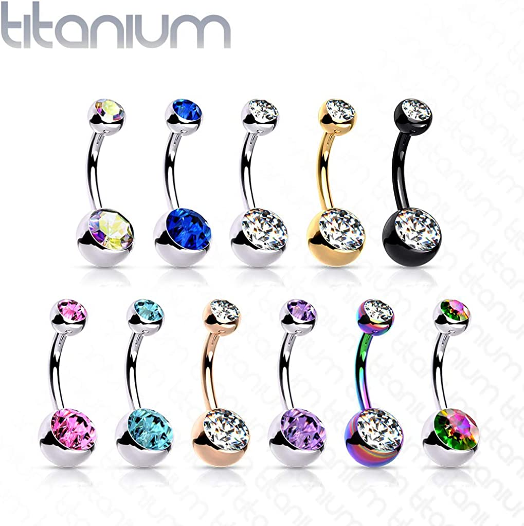 14G Solid G23 Implant Grade Titanium INTERNALLY THREADED Double Jeweled Naval Belly Ring