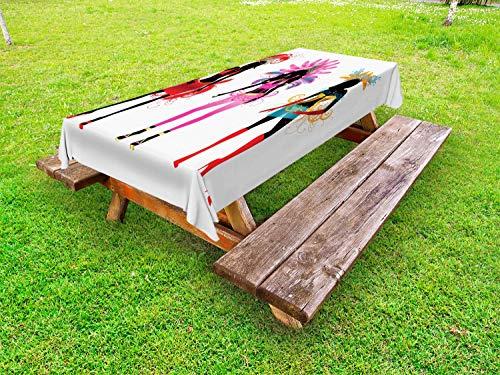 ABAKUHAUS Mode Tafelkleed voor Buitengebruik, Bloei carnavalskleding, Decoratief Wasbaar Tafelkleed voor Picknicktafel, 58 x 84 cm, Veelkleurig