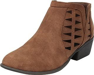 Cambridge Select Women's Western Geometric Cutout Low Heel Ankle Bootie