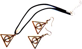Inspired Harry Potter Deathly Hallows Design Leather Choker Style Necklace & Dangle Earring Jewelry Set