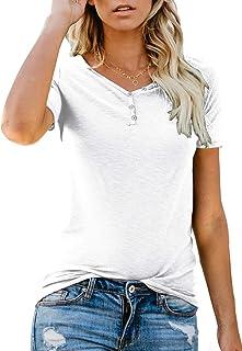 Women's Short/Long Sleeve Henley Button up T Shirt Casual...