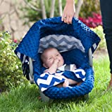 Carseat Canopy 5 Pc Whole Caboodle (Jagger) Baby Infant Car Seat Cover Kit with Minky Fabric