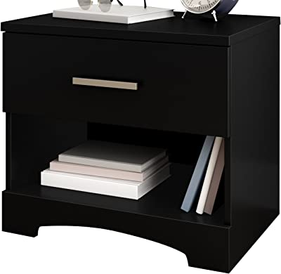 South Shore Gramercy 1-Drawer Nightstand, Pure Black with Metal Handle