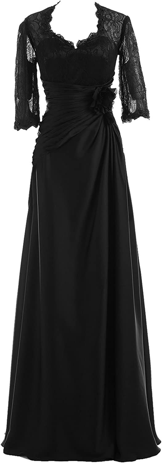 DINGZAN Woman's Floor Length Mother of The Bride Dresses with Lace Half Sleeves