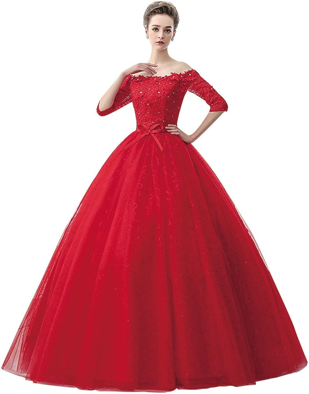 BessWedding Women's Long Lace Beads Off The Shoulder Ball Gown Wedding Dress
