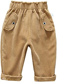 Xifamniy Infant Boys Trousers Elastic Waist Solid Color Corduroy Loose Fit Pants