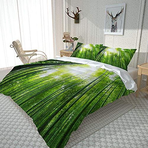 Funda nórdica de Impreso en 3D Funda de edredón de Cama Impresa con Cubre el Paisaje del Bosque de bambú Natural Double(200X200 Cm), 3 Piece Set 1 Piece Quilt Cover + 2 Piece Matching Pillowcase