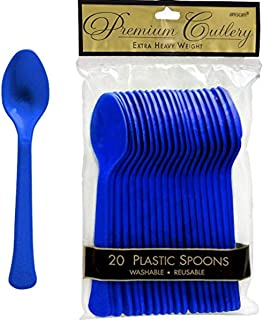 Amscan Heavy Weight Spoon 20 Pieces, Royal Blue