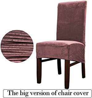 KKONION Velvet Stretch Dining Chair Cover Solid Removable Long Back Seat Case Large Plush Short Parson Chair Protector