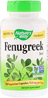 Nature's Way Fenugreek Seed 610 mg, Non-GMO Project Verified, TRU-ID Certified, Vegetarian, 180 Count, Pack of 2