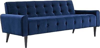 Modway Delve Luxury Button Tufted Upholstered Velvet Sofa In Navy