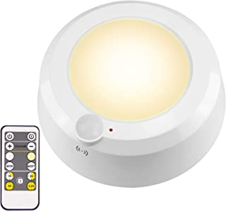 LUXSWAY Motion Sensor Puck Light Battery Operated Remote Control Stick to Button Wall Light with Light Sensor &Time Preset...