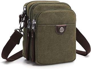 Haibeisi Fashion Unique Multifunction Canvas Mini Sling Shoulder Messenger Bag Waist Bag for Men (Color : Green, Size : L12.5*W8*H16.5CM)